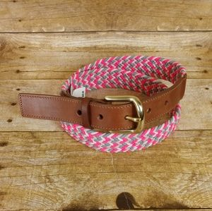 J. Crew Woven Belt With Genuine Leather Tabs
